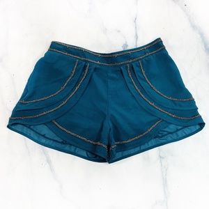 Patrons of Peace Teal Blue Beaded Tulip Hem Shorts